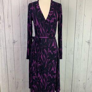 Boden | black purple wrap dress | long sleeves